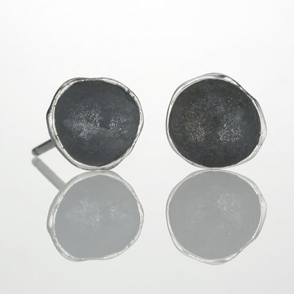 Large Oxidized Silver Single Pod Earrings by Sarah Richardson