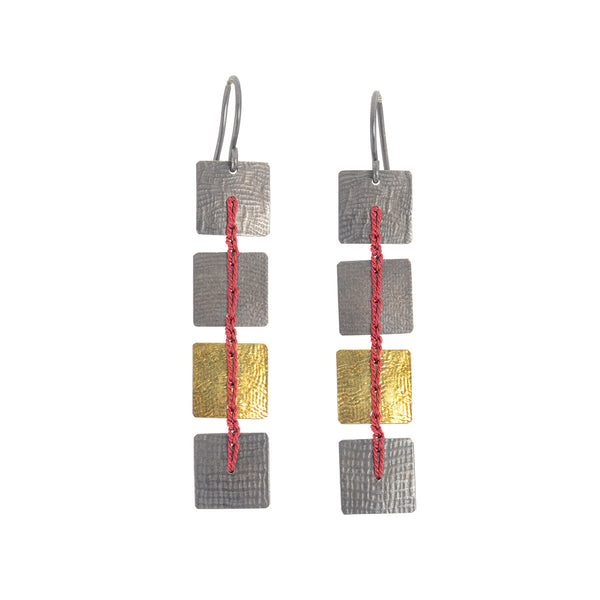 Bi-Metal Square Crocheted Earrings by Erica Schlueter