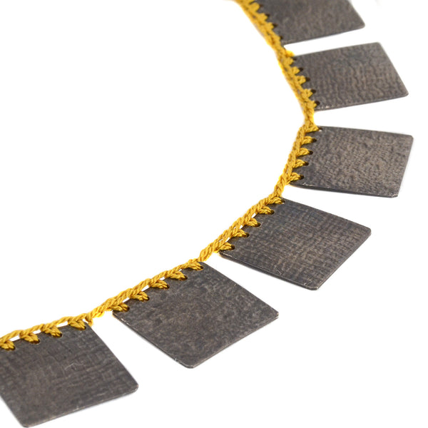 Yellow Cleopatra Square Necklace by Erica Schlueter