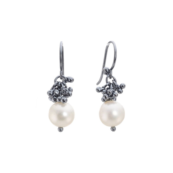 NEW! Short Caviar Cluster Pearl Drop Earrings by Magally Lopez