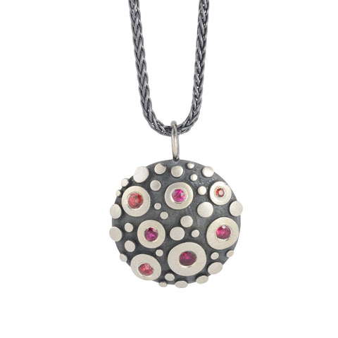 NEW! Disco Pendant with Rubies and Sapphires Necklace by Dahlia Kanner