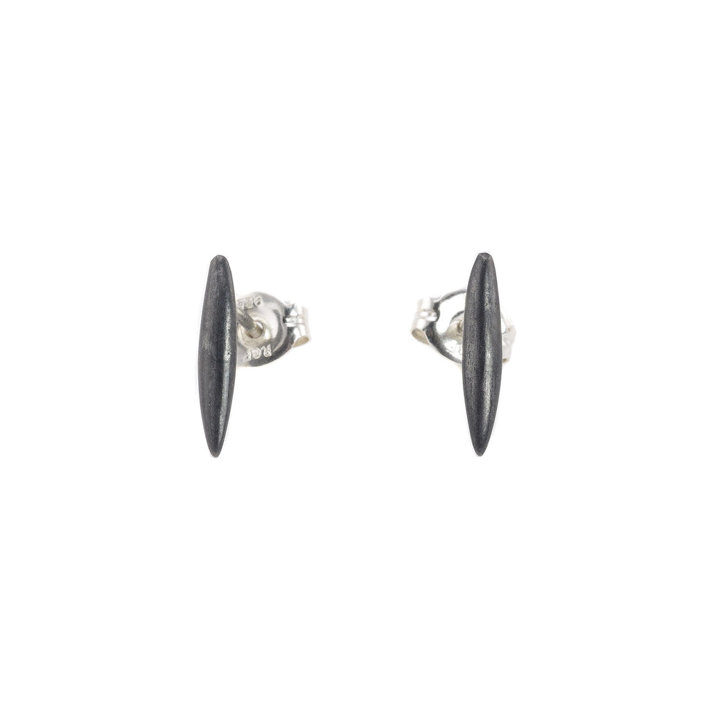 NEW! Pointe Stud Earrings in Oxidized or Polished Silver by Michelle Simon Jewelry