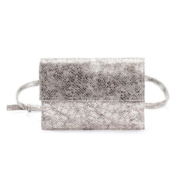 Pouch Leather Bag in Silver by Kisim
