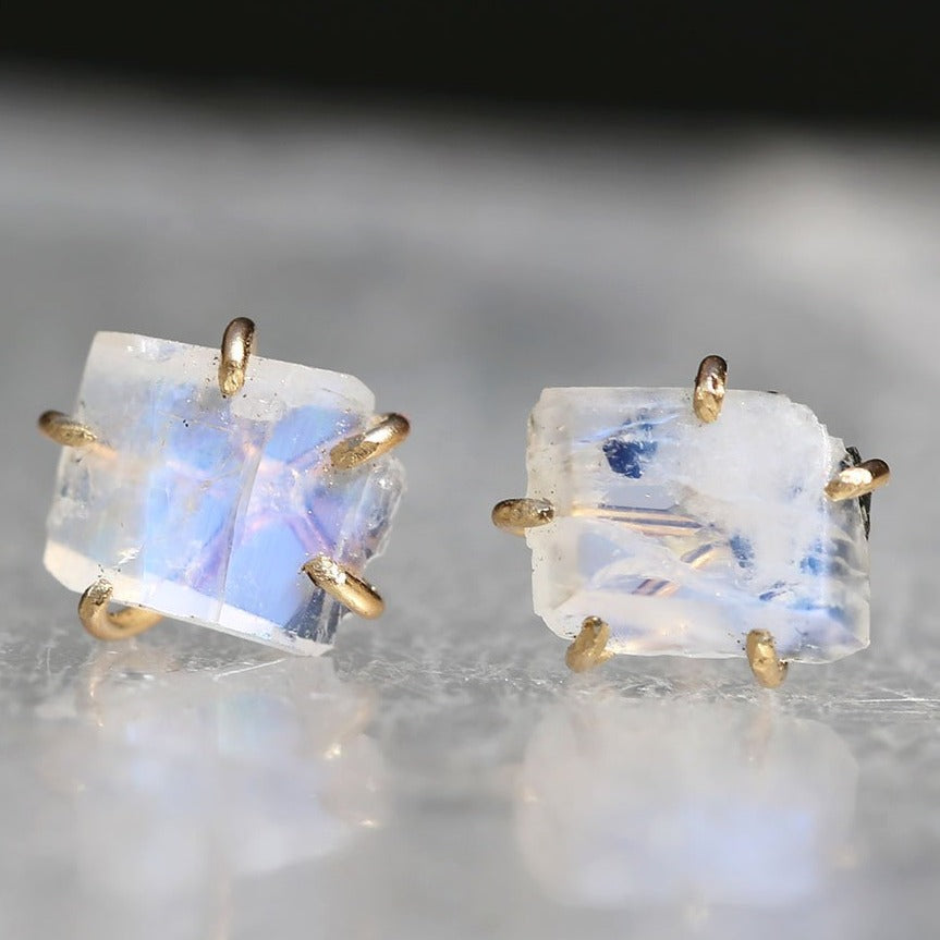NEW! Small Rainbow Moonstone Studs by Variance Objects