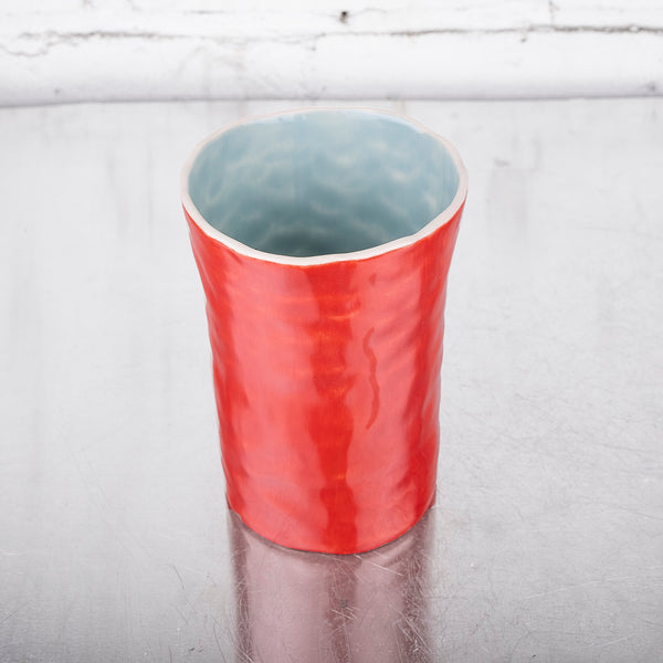 Red and White Cup  by SRS Ceramics