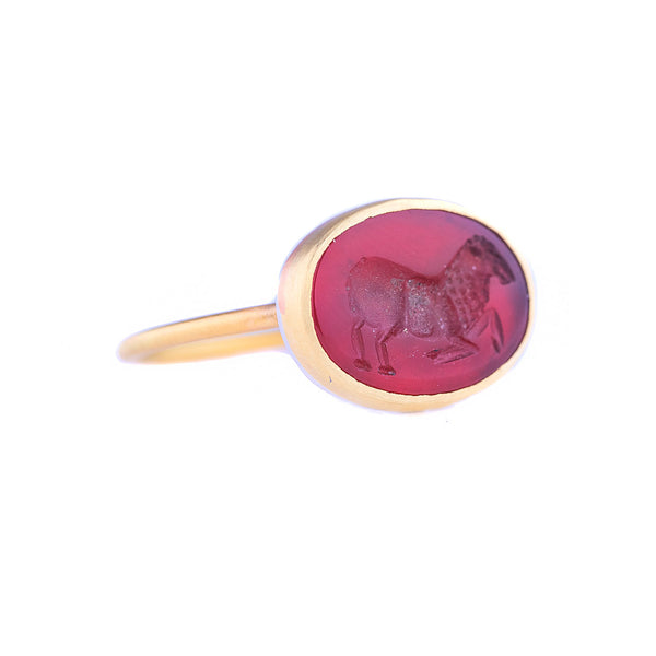 NEW! Carnelian Intaglio Ram Ring by Judi Powers