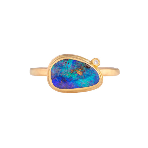NEW! Boulder Opal Ring with Diamonds by Ananda Khalsa