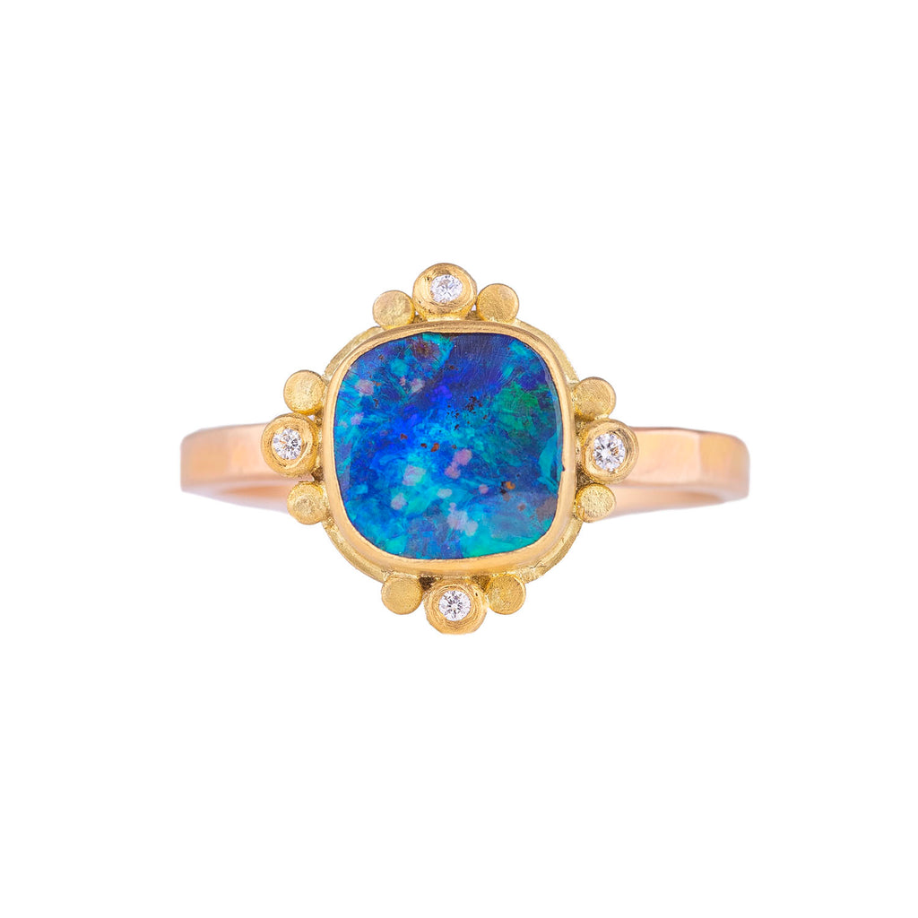 NEW! Square Boulder Opal Ring with Diamonds by Ananda Khalsa