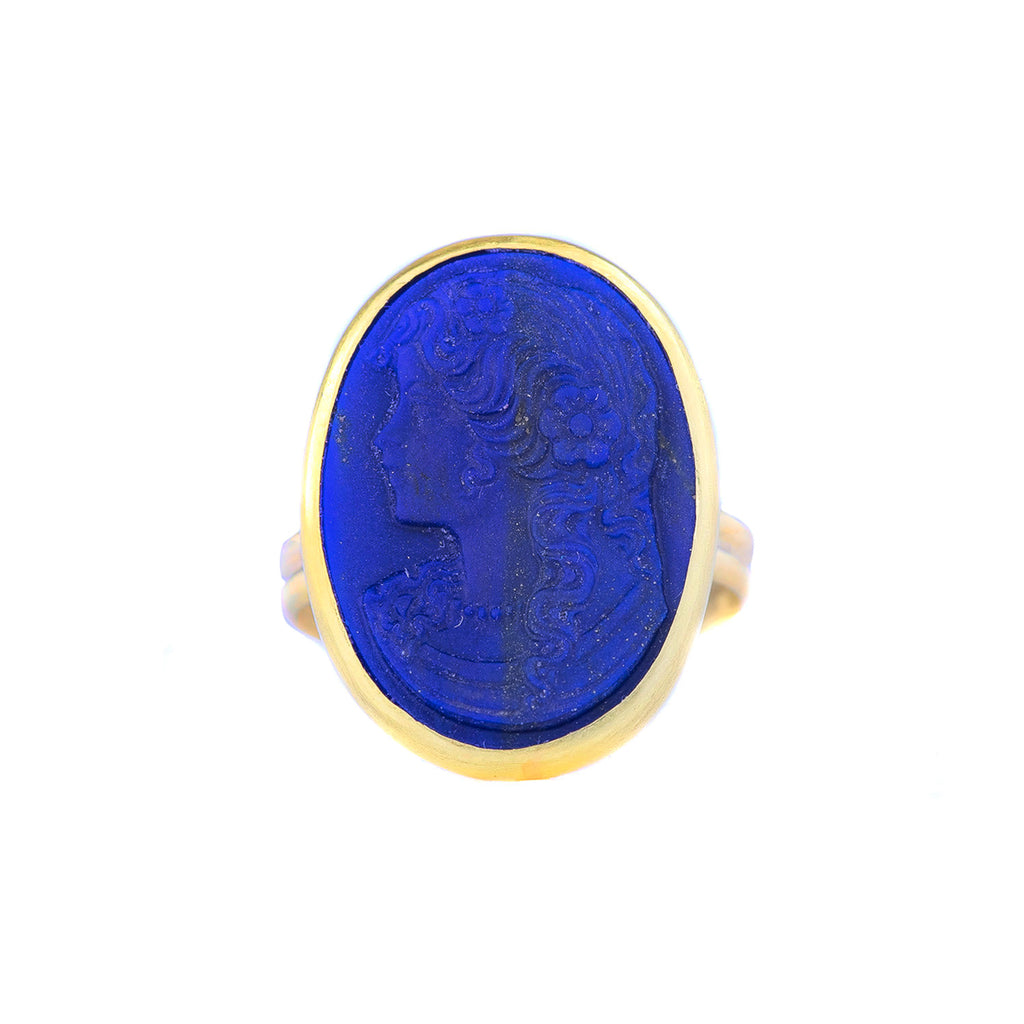 NEW! Lapis Lazuli Cameo Ring by Judi Powers