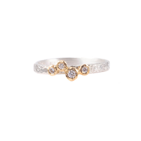 NEW! 18k Gold & Silver 4 Bezel Diamond Ring by Yasuko Azuma