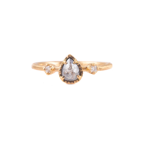 .29ct Dark Grey Pear Diamond Muguet Ring by Yasuko Azuma