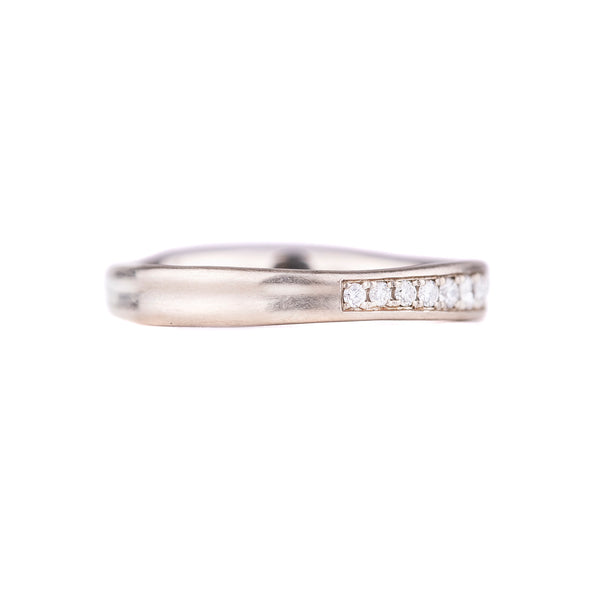 NEW! 14k White Gold Band with Diamonds by Matsu