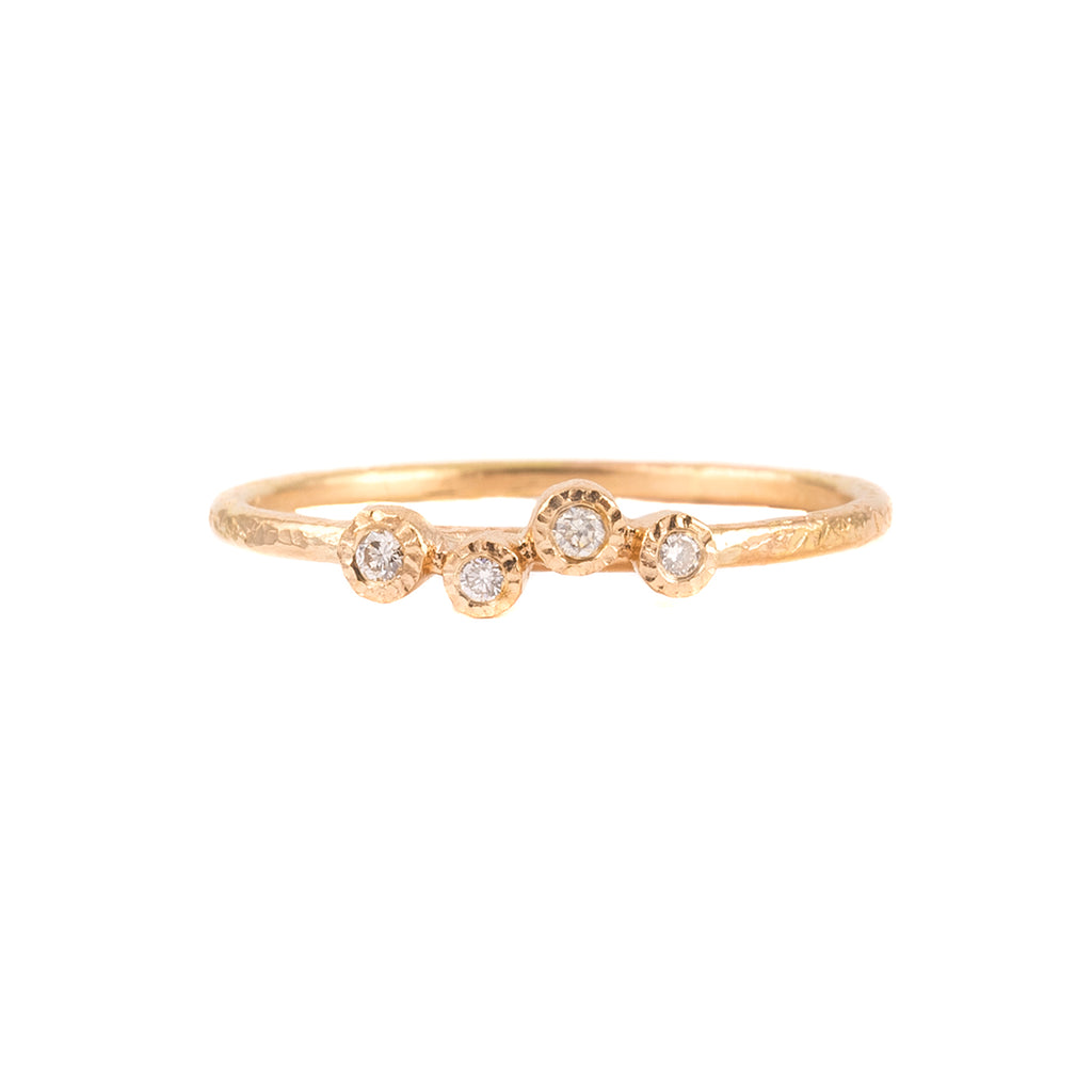 NEW! 14k Gold 4 Bezel Diamond Ring by Yasuko Azuma