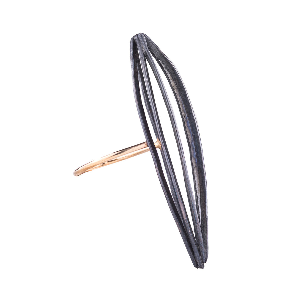 NEW! Oxidized Silver Form on 14k Gold Band by Leia Zumbro
