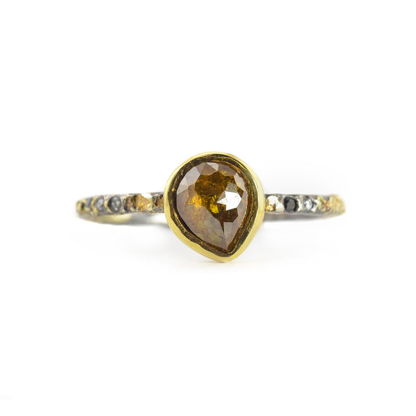 .87 Amber Pear Shaped Rose Cut Diamond Ring by Kate Maller