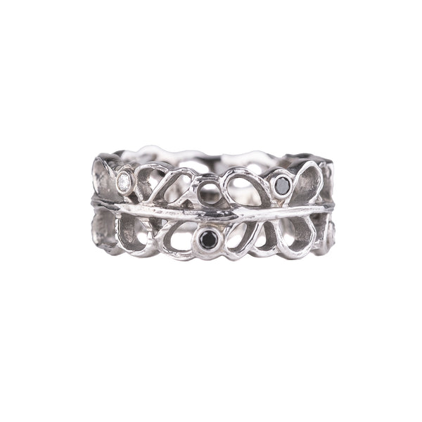 NEW! White Gold Shadow Band with Diamonds by Sarah Graham