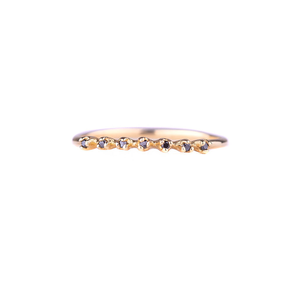 NEW! Seven Black Diamond Yellow Gold Ring by N+A
