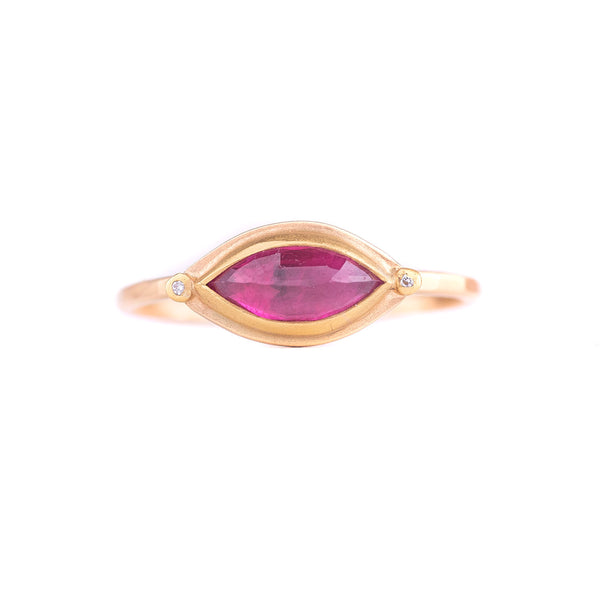 NEW! Rose Cut Marquise Ruby Ring by Ananda Khalsa