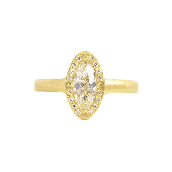 Vertically Set Marquis Oval Diamond Ring by Adel Chefridi