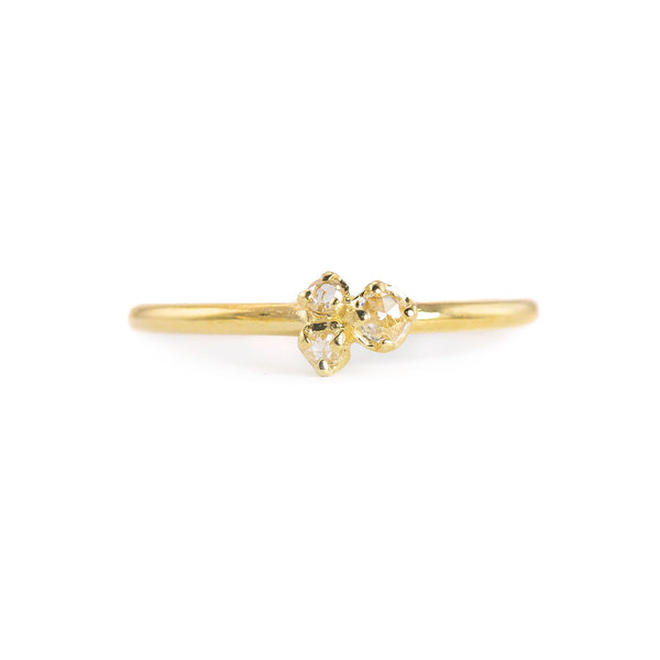 NEW! Three Rose Cut Diamond 14k Gold Ring by N+A