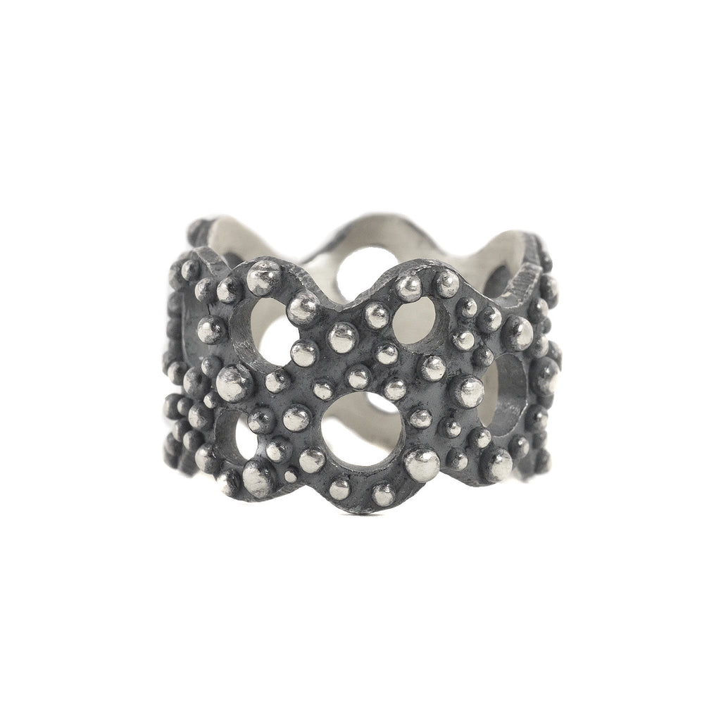 Oxidized Sterling Silver Bumpy Band with Open Holes by Dahlia Kanner
