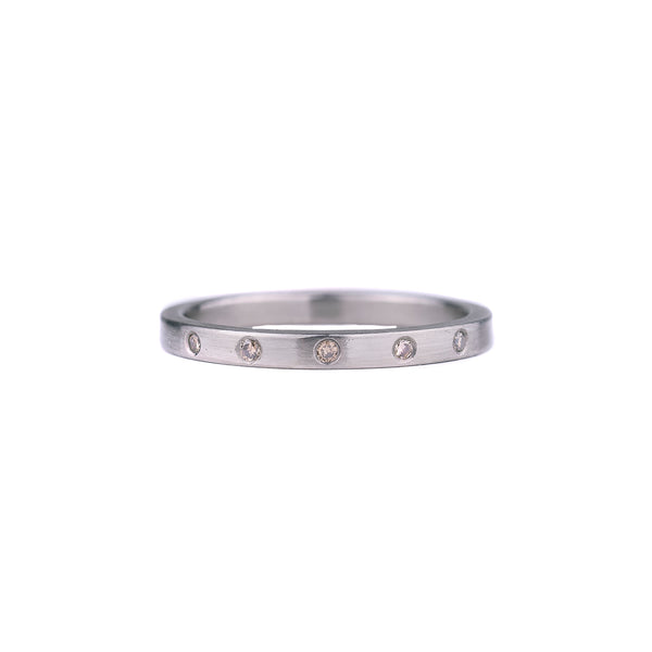 SALE! 1/2 Eternity Champagne Diamonds Sterling Silver Band by EC Design
