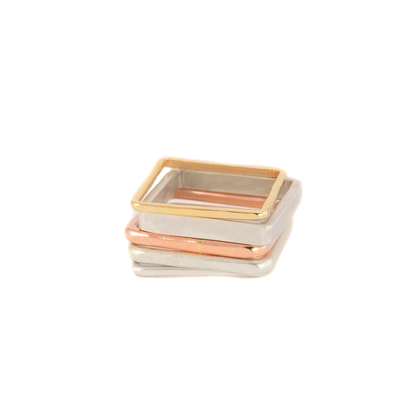 5-Stack Rose, Silver & Gold Square Ring by Colleen Mauer Designs