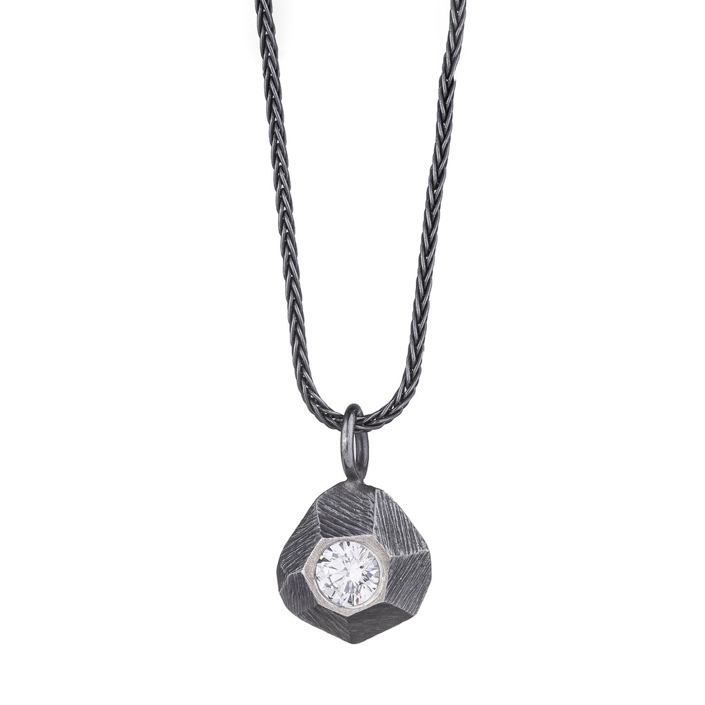 NEW! Oxidized Silver Rock Pendant with Cubic Zirconia by Dahlia Kanner