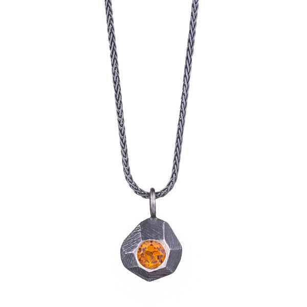 NEW! Oxidized Silver Rock Pendant with Citrine by Dahlia Kanner