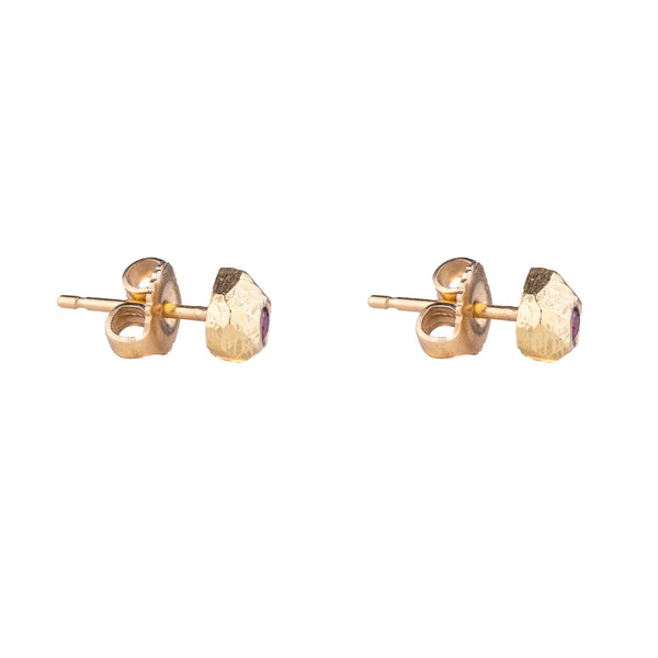 NEW! 18k Gold Rock Studs with Rubies by Dahlia Kanner