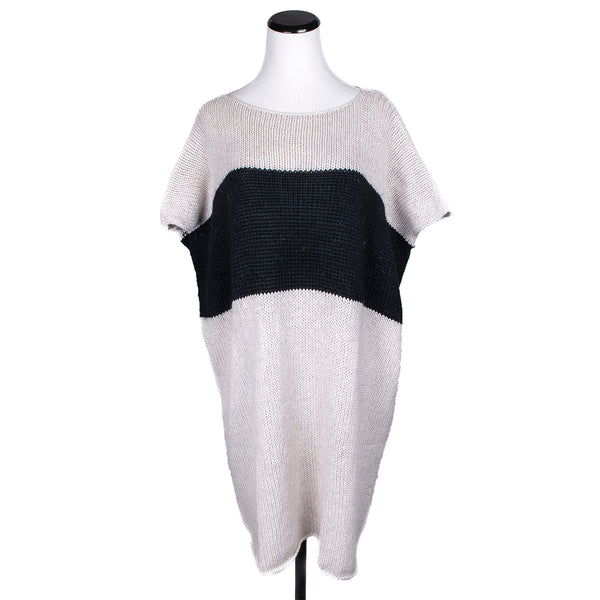 NEW! Roll Neck Tunic in Natural/Charcoal by Isobel & Cleo