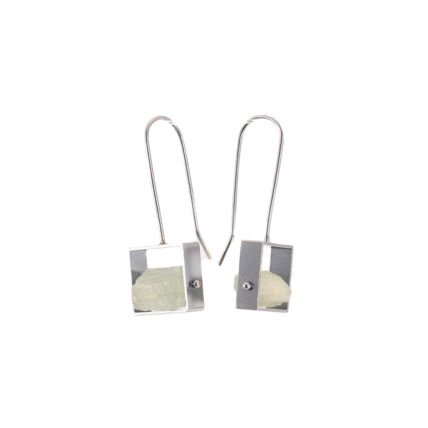 Open Rectangle Rough Aqua Earrings by Ashka Dymel