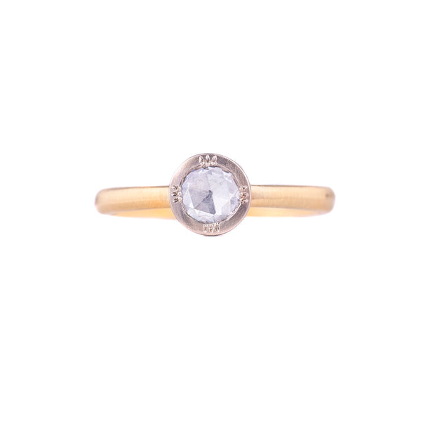 NEW! Two Tone Round Rose Cut Ring by Adel Chefridi