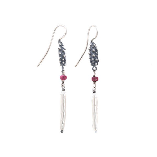 NEW! Drop Bumpy with Pearlescent and Ruby Beads Earrings by Dahlia Kanner