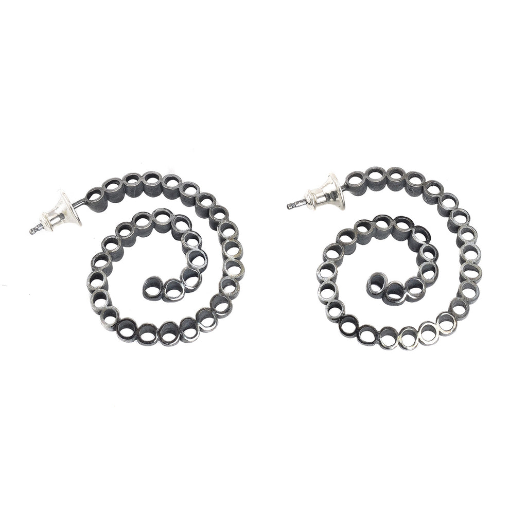 NEW! Ruffle Swirl Hoop Earrings in Oxidized Sterling Silver by Thea Izzi