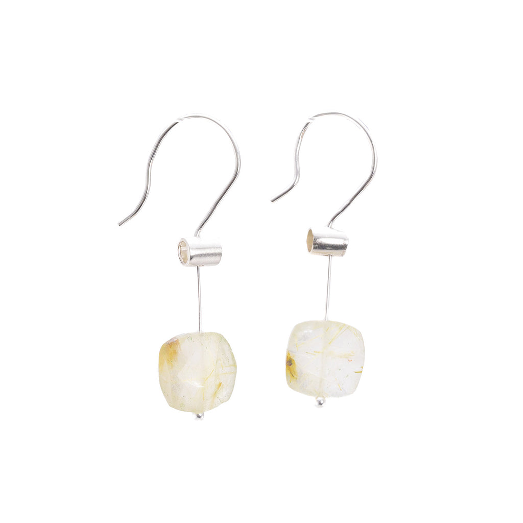 NEW! Large Pivot Rutilated Quartz Earrings by Serena Kojimoto