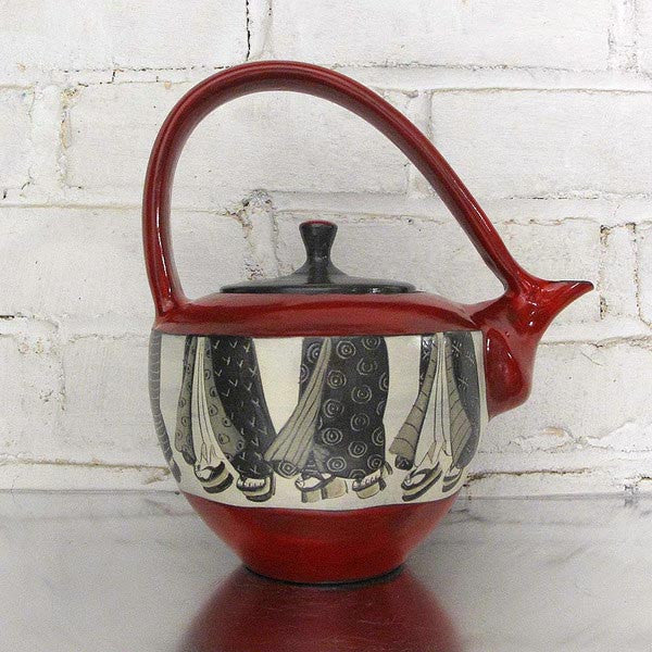 Geisha Teapot by Sally Jaffee - Fire Opal