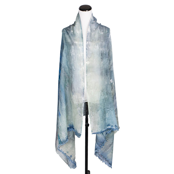 NEW! Large Handpainted Wool Shawl by Yuh Okano