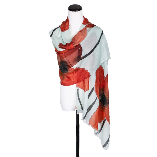 NEW! Medium Handpainted Wool Cashmere Scarf by Yuh Okano
