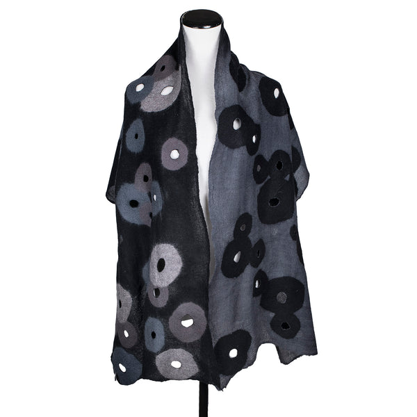 NEW! Merino Wool Holey Scarf in Black & Grey by B. Felt