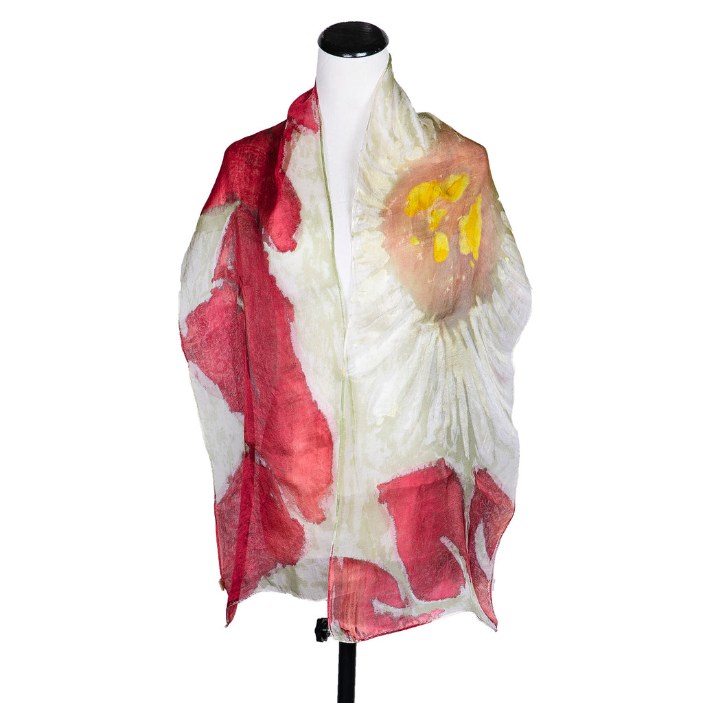 "NEW! ""Sunflower Vermillion"" Handpainted Silk Organza Scarf by Yuh Okano"