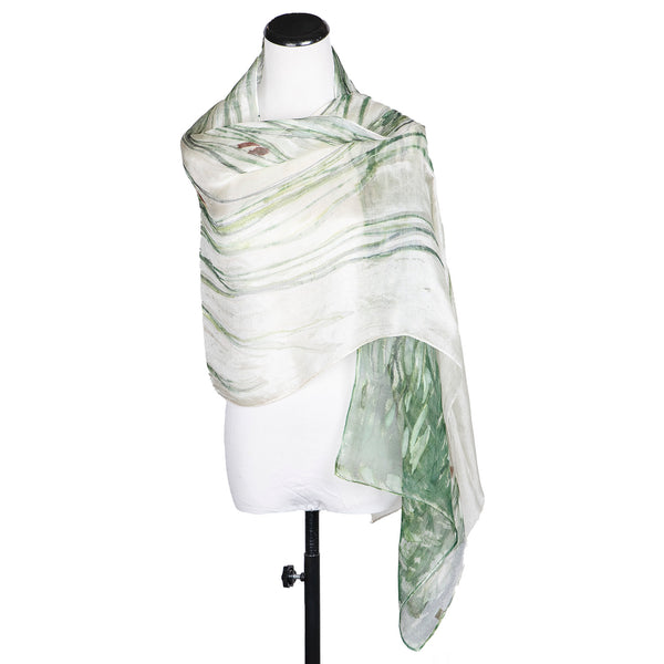 "NEW! ""Grasses"" Handpainted Silk Organza Scarf by Yuh Okano"