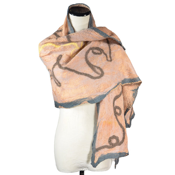 NEW! Collage Shawl in Beige, Grey and Blush by B. Felt