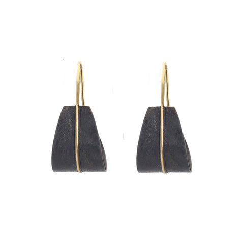 NEW! Small Shield Earrings in Black by Shaesby