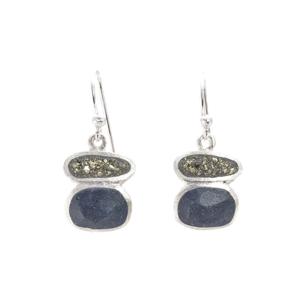 NEW! Short Stack Hook Earring in Pyrite and Slate by David Urso