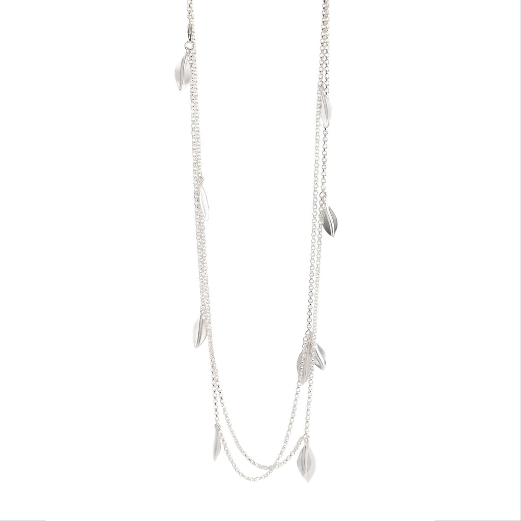 Silver Olive Leaf Long Necklace by EAM