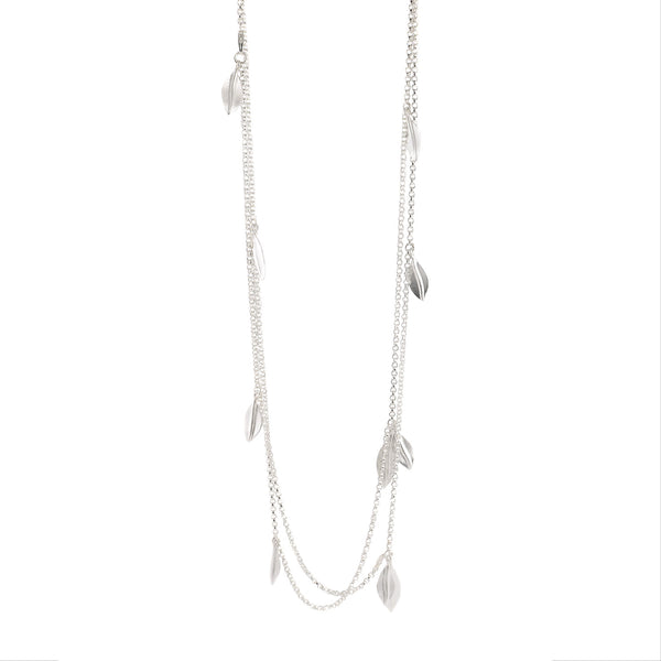 NEW! Silver Olive Leaf Long Necklace by EAM