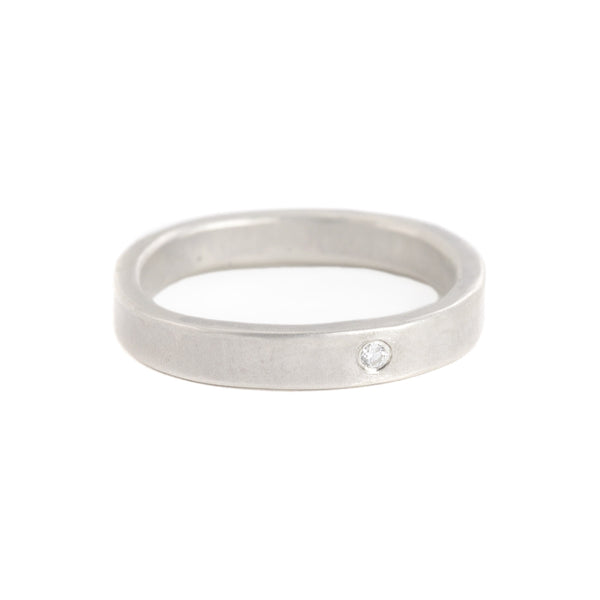 3mm Individual Round Silver Band with Diamond by Colleen Mauer Designs
