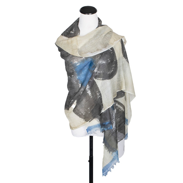NEW! Blue Crematis Handpainted Wool Cashmere Scarf by Yuh Okano