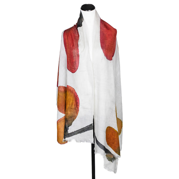 NEW! Magnolia Handpainted Wool Cashmere Scarf by Yuh Okano